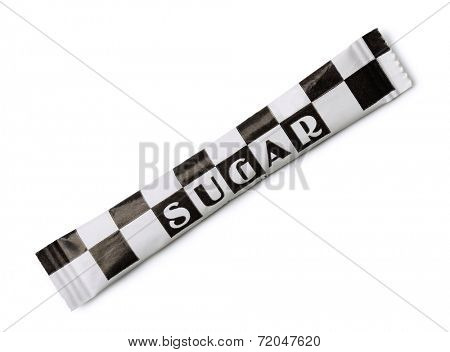 Small paper sugar pack isolated on white