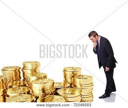 dubious man look golden bitcoin