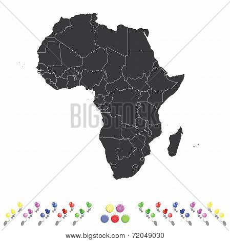 Outline On Clean Background Of The Continent Of Africa