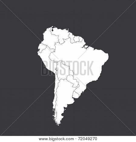 Outline On Clean Background Of The Continent Of South America