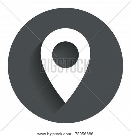 Map pointer icon. GPS location symbol. Circle flat button with shadow. Modern UI website navigation. Vector poster