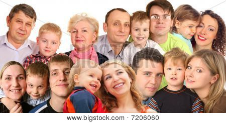 Many Faces Family With Children, Collage