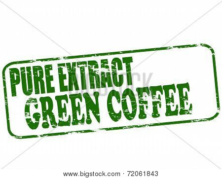 Rubber stamp with text pure extract green coffee inside vector illustration poster
