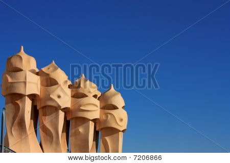 Symbol Of Barcelona. Chimneys, Gaudi