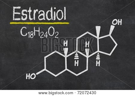 Blackboard with the chemical formula of estradiol