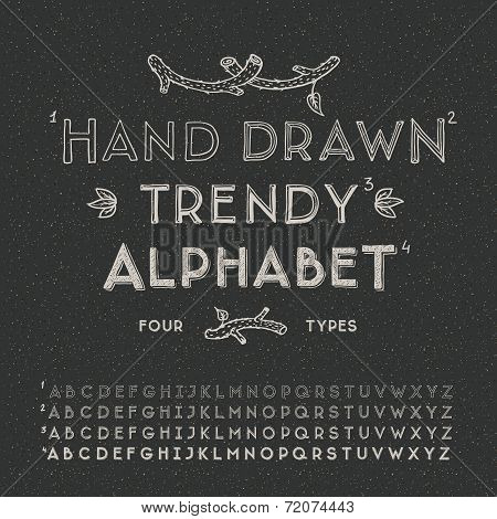 Trendy hand drawing alphabet