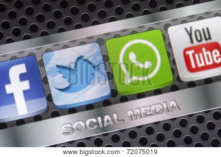 Belgrade - August 30, 2014 Social Media Icons Twitter, Whatsapp, Facebook, And Youtube On Smart Phon