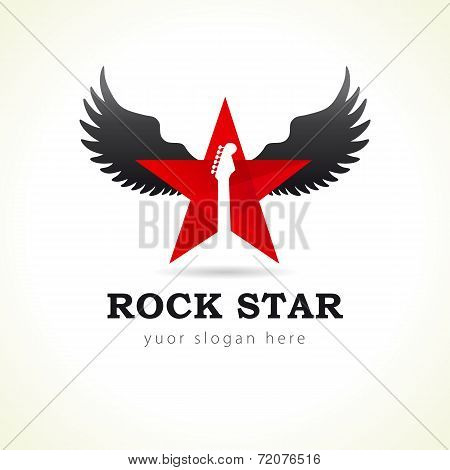 Rock star or band fly logo brand red colored. Electric guitar fretboard in red star flies. Black music angel wing. Vector sign. Art events and tours symbol.