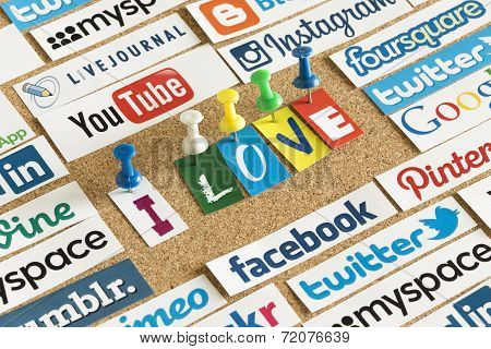 Belgrade - June 17, 2014 Social Media Website Logos Facebook, Twitter And Words I Love Printed On Pa