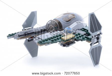 Ankara, Turkey - May 23, 2013: Lego Starwars Anakin's Jedi Interceptor isolated on white background.