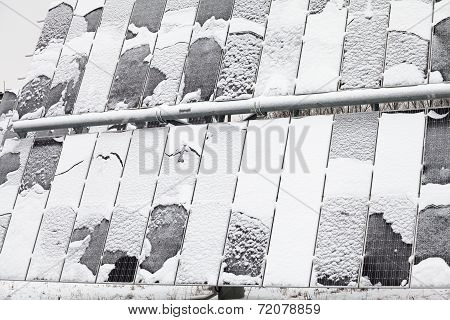 Photovoltaic Panel Covered By Snow