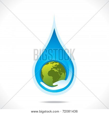 save earth or save water in hand concept vector