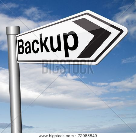 Backup data and software on copy in the cloud on a harddrive disk on a computer or server for flie security Extra storage and archive copy.