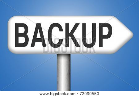 Backup data and software on copy in the cloud on a harddrive disk on a computer or server for file security poster