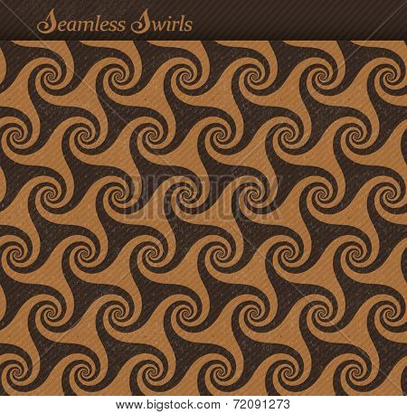 Abstract seamless background pattern with a grunge texture and faint diagonal stripes. Repeating swirls, spirals forming a playful wave backdrop.