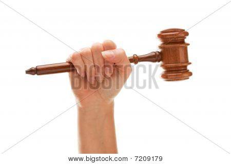Woman Holding Wooden Gavel Isolated On White