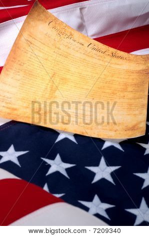 Vertical Image Of The The First Page Of The Us Bill Or Rights On The American Flag