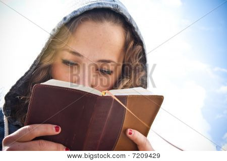 Girl Studying the Bible