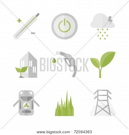 Green Power And Energy Flat Icons Set