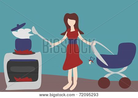 mother in kitchen with perambulator