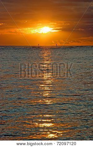 Beautiful Sunset Above The Ocean On Hawaii