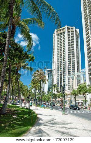Street Of Honolulu Close To Waikiki Beach On Oahu Island Hawaii