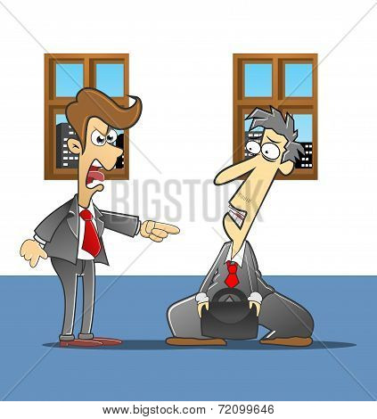 illustration of employee who is being reprimanded boss poster