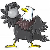 Children vector illustration of strong eagle with weight poster
