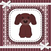 frame with lace and nice dog vector illustration poster