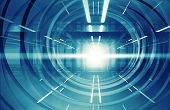 Abstract blue shining 3d tunnel interior with neon lights poster