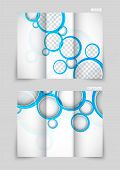 Tri-fold brochure template design with blue circles poster