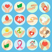 Charity donation social services and volunteer icons set with hands isolated vector illustration poster