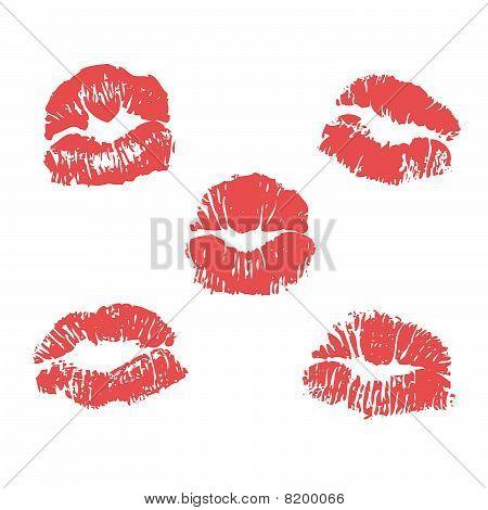 Set of vector lipstick marks