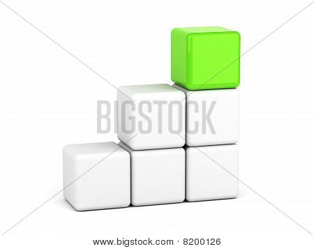 Bright Green Cube Leadership Concept