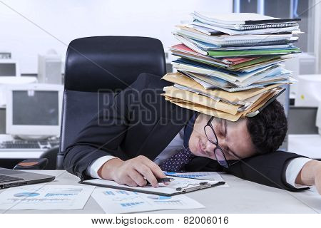 Depressed Worker With Documents