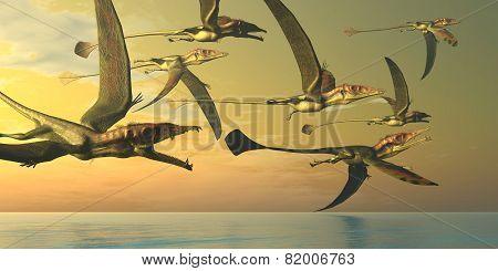 Eudimorphodon Dinosaur Flock