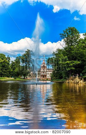 Castle Park Phillipsruhe with lake in Hanau, Germany