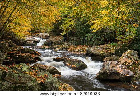 North Carolina Autumn Cullasaja River Scenic Landscape