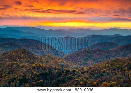 North Carolina Blue Ridge Parkway Mountains Sunset Scenic Landscape