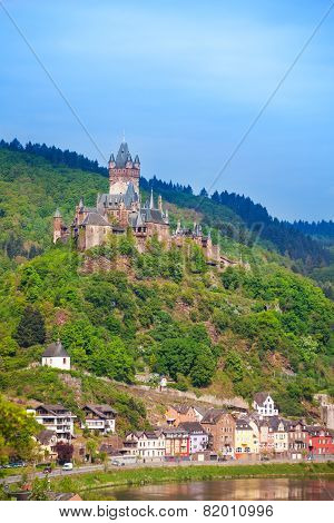 Cochem Imperial Castle, mountain and Mosel river