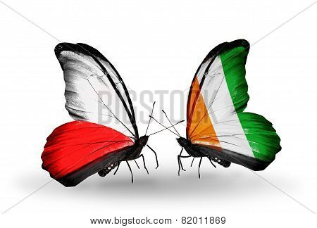 Two Butterflies With Flags On Wings As Symbol Of Relations Poland And Cote Divoire