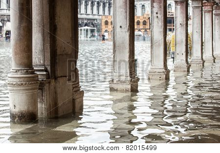 View Of The Arcades With High Water In Venice.