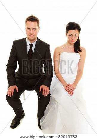 Bad relationship concept. Married couple problem indifference depression and discord. Man woman in disagreement isolated on white. poster