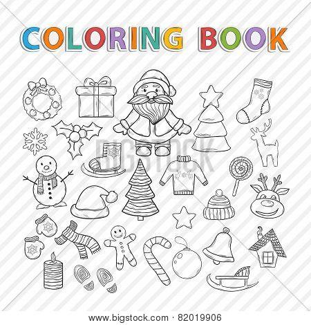 Vector coloring book.Winter set.