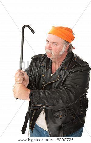 Man Wielding a Crowbar