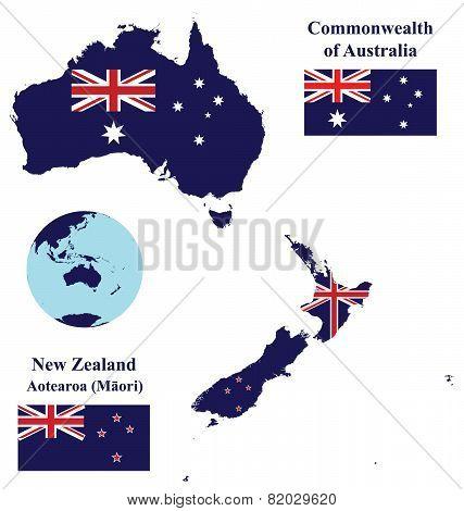 Australia and New Zealand Map Flag