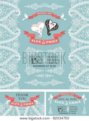 Winter wedding invitation.Cartoon hearts, Paisley border