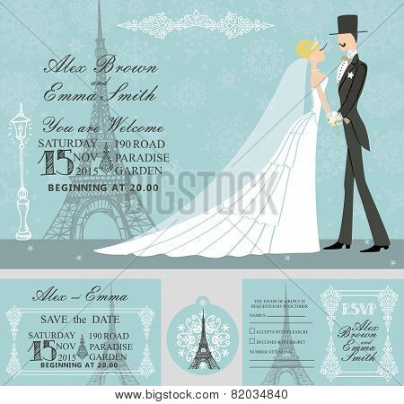 Winter wedding invitation set.Bride,groom,snowflake,Eiffel tower