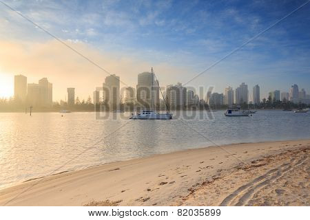 Australian Foggy Morning Along Main Beach Suburb