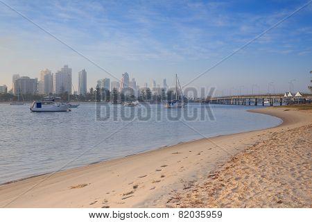 Australian Foggy Morning Along Main Beach Suburb